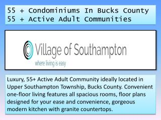 55   Condominiums In Bucks County