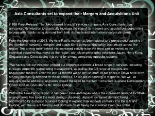 Axia Consultants set to expand their Mergers