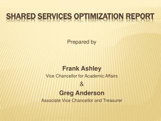 Shared Services Optimization Report