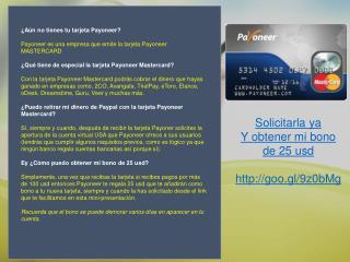 Tarjeta Payoneer GRATIS y bono de 25 usd