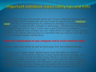 Important notebook repair safety tips and hints