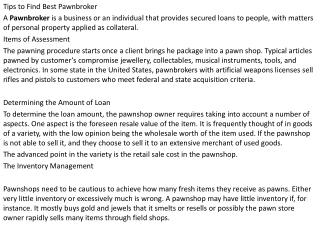 Pawnbrokers