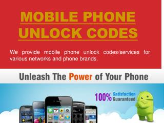 Mobile Phone Unlock Codes