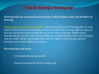7 Tips for Buying a Hearing Aid