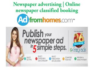 Newspaper advertising | Online classified booking | Adfromho