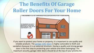 The Benefits Of Garage Roller Doors For Your Home