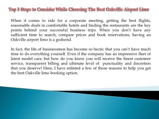 Choosing The Best Oakville Airport Limo