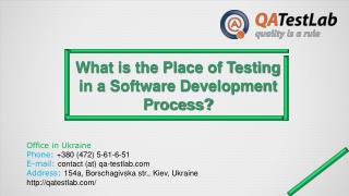 What is the Place of Testing in a Software Development Proce