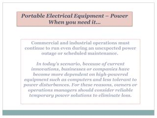 Portable Electrical Equipment – Power When you need it