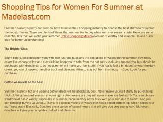 Shopping Tips for Women For Summer at Madelast.com