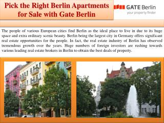 Pick the Right Berlin Apartments