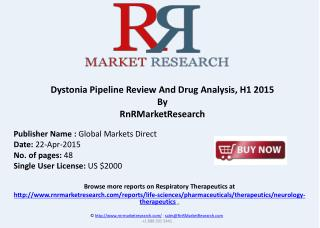 Dystonia Pipeline Review And Drug Analysis, H1 2015