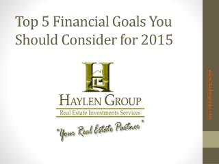 Top 5 financial goals you should consider for 2015