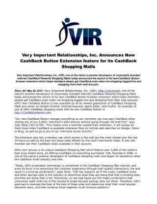 Very Important Relationships, Inc. Announces New CashBack