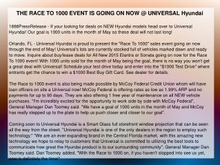 THE RACE TO 1000 EVENT IS GOING ON NOW @ UNIVERSAL Hyundai