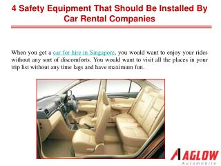 4 safety equipment that should be installed by car rental co