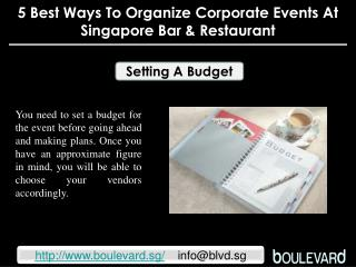 5 best ways to organize corporate events at Singapore Bar &