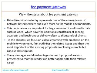 Visit the best site of fee payment gateway