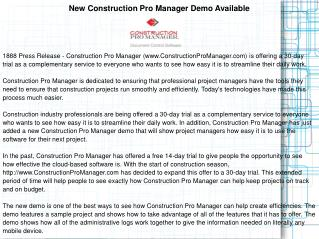 New Construction Pro Manager Demo Available