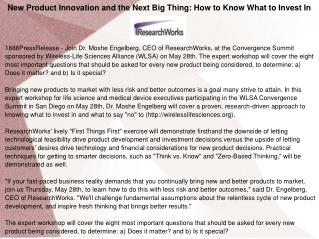 New Product Innovation and the Next Big Thing