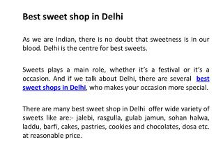 Best sweet shop in Delhi