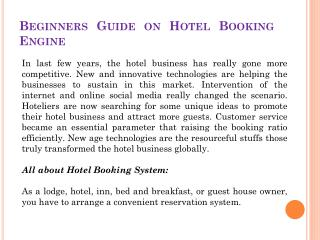 Beginners Guide on Hotel Booking Engine