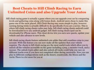 Cheats to Hill Climb Racing