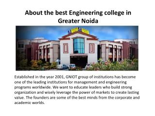About the best Engineering college in Greater Noida