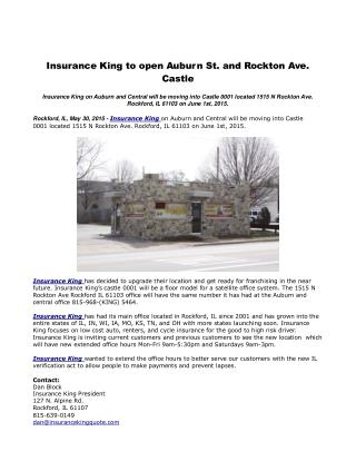 Insurance King to open Auburn St. and Rockton Ave. Castle
