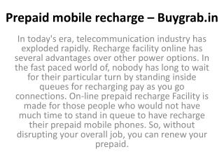 Prepaid mobile recharge India