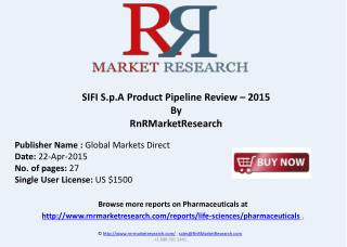 SIFI S.p.A Product Pipeline Review � 2015