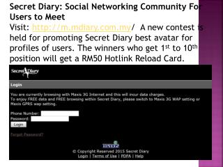 Secret Diary: Social Networking Community For Users to Meet