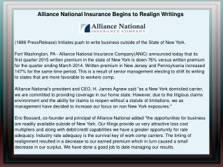 Alliance National Insurance Begins to Realign Writings