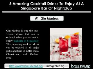 6 amazing cocktail drinks to enjoy at a Singapore bar or nig