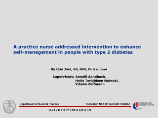 A practice nurse addressed intervention to enhance self-management in people with type 2 diabetes