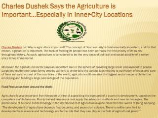 Charles Dushek Says the Agriculture is Important…Especially