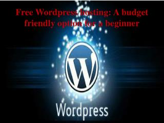 Free Wordpress hosting A budget friendly option for a beginn