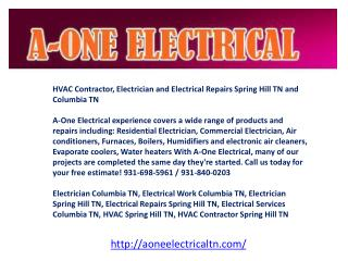 Electrician Columbia TN, Electrical Work Columbia TN, Electr