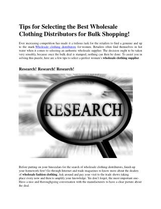 Tips for Selecting the Best Wholesale Clothing Distributors