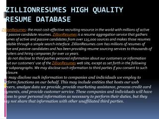 Zillionresumes High Quality Resume Database