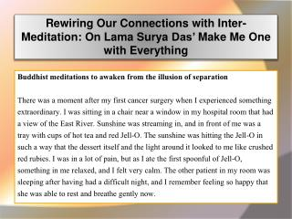 Rewiring Our Connections with Inter-Meditation: On Lama Sury
