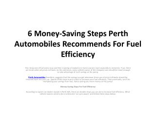 6 Money-Saving Steps Perth Automobiles Recommends For Fuel E