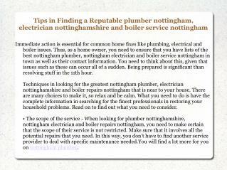 Nottingham Plumber Pelliere