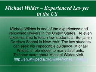Michael Wildes – Experienced Lawyer in the US