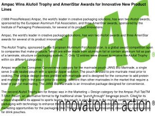 Ampac Wins Alufoil Trophy and AmeriStar Awards