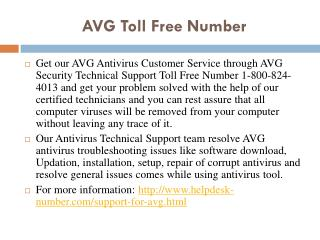 AVG Toll Free Number | 1-800-824-4013