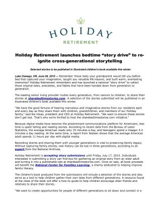 """Holiday Retirement launches bedtime """"story drive"""""""