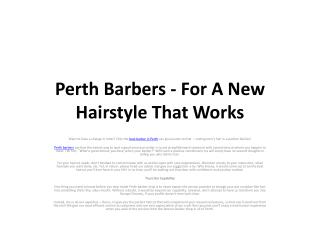Perth Barbers - For A New Hairstyle That