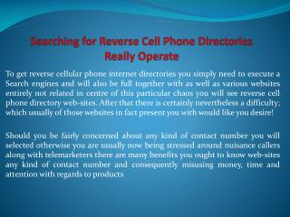 Searching for Reverse Cell Phone Directories Really Operate
