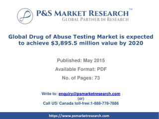 Drug of Abuse Testing Market forecasts to 2020